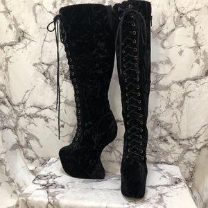 JC 'walk tall' knee crushed velvet high boots